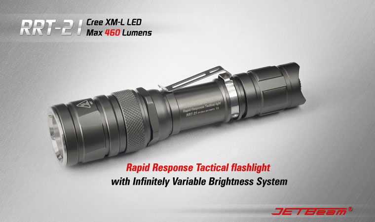 Free Shipping JETBeam RRT-21 Cree XM-L T6 LED Stepless Dimming 460 Lumens Flashlight (2 x CR123A / 2 x RCR123 / 1 x 18650) стоимость