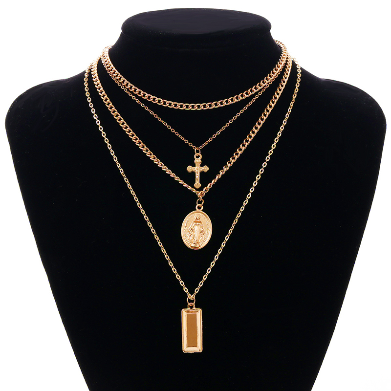 Exaggeration Virgin Maria,Jesus Cross Coin Bullion Pendant Clavicle Four-storey Alloy Necklace Originality Necklace Jewelry