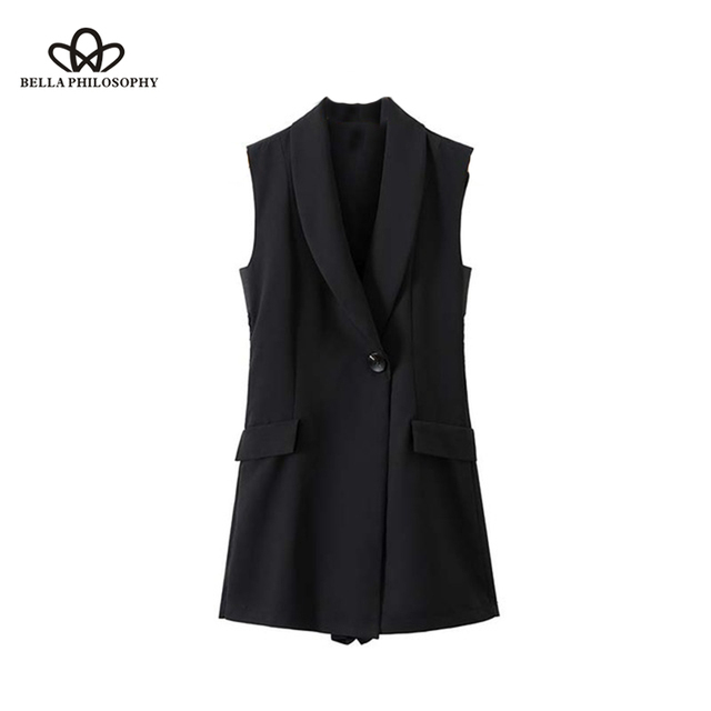 b41b25ec36ad Bella Philosophy women lace patchwork black playsuits Notched collar  sleeveless office lady wear jumpsuits slim causal