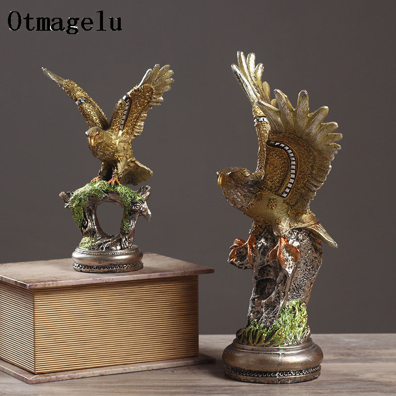 European Eagle Trophy Hand Painted Resin Figurine Statue Ornament