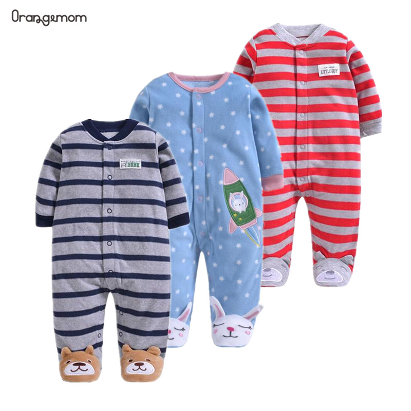 Orangemom Official Newborn Baby Boys 2019 Spring Baby Rompers Girls Romper Infant Fleece Jumpsuit For Kids New Born Baby Clothes