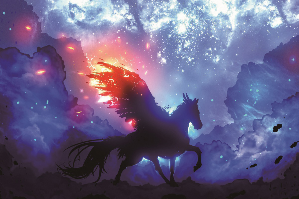pegasus guardian space stars fantasy living room home wall art decor wood frame fabric posters KE893