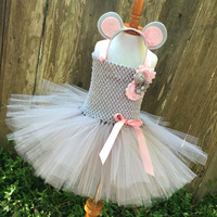 Christmas Mouse Tutu Dress Gray Pink Knee Length Birthday Party Cartoon Tutu Dresses Purim Day Pet Costume For Kids Halloween
