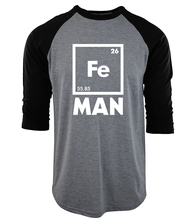 2017 men cotton raglan camisetas Iron Science three-quarter sleeve T Shirt Funny Chemistry tee Shirt homme Fe Periodic Table top