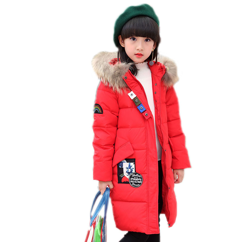 teenager girls winter coat 2017 new children outwear long section white duck down girl parka coat big natural collar girl coat winter parka coat 2017 new women raccoon fur collar rabbit fur parka liner female long section warm thick outwear qw631