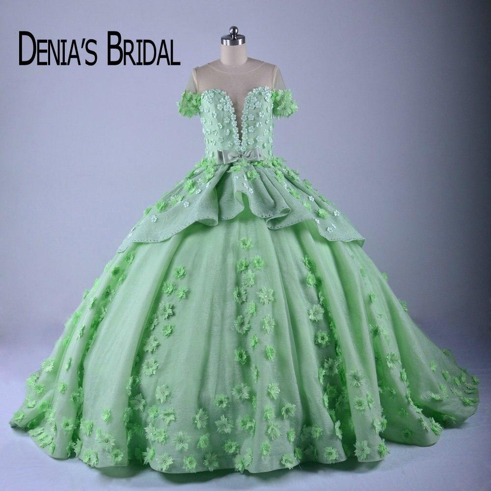 Inchados Vestidos De Noiva Coloridos Tripulação Sheer Neck Handmade Flores Frisada Tribunal Trem vestido de Baile Vestidos de Noiva