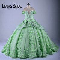 Puffy Colorful Wedding Dresses Sheer Crew Neck Handmade Flowers Beaded Court Train Ball Gown Bridal Gowns
