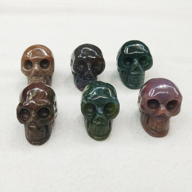 2017 Fashion top quality natural india onyx carved skull charms pendants for jewellery making 6pcs/lot wholesale free shipping