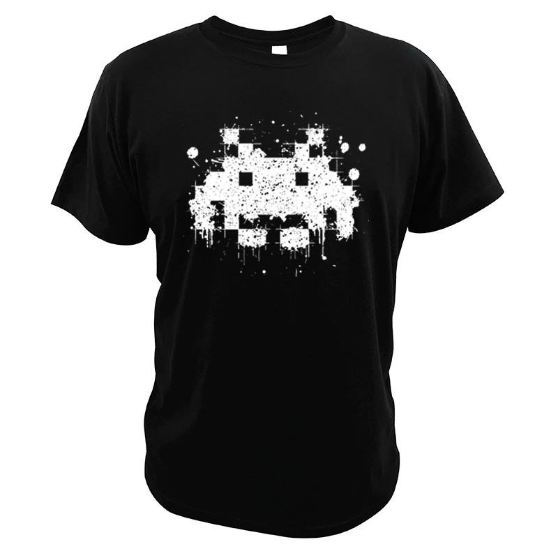 Space Invader Tshirt Classic Shooting Game Teen Camiseta Cotton Gift For Vintage Retro Arcade Player T-shirt image