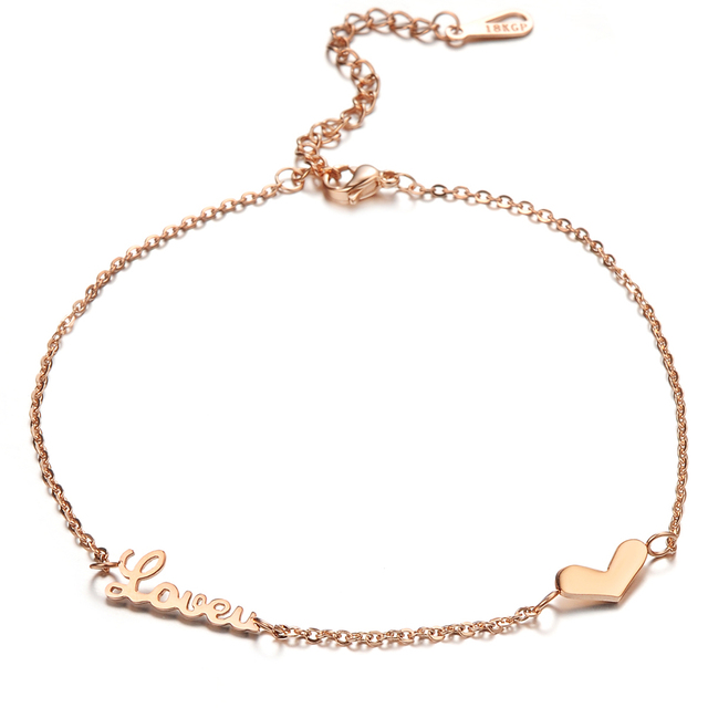 ff6a22a27105 Rosa oro Color acero inoxidable tobillo pulseras para las mujeres corazón  amor desnudo Cadena de pie