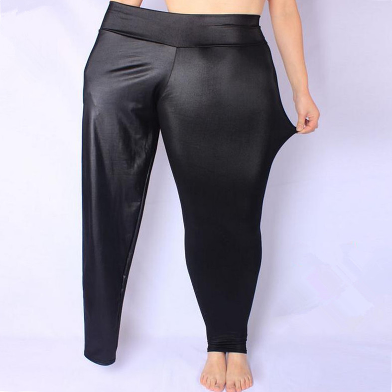 FSDKFAA Women Leggings Black High Waist Faux Leather Leggings High Elastic Stretch Material Skinny Pants  Plus Size XL-XXXXXL