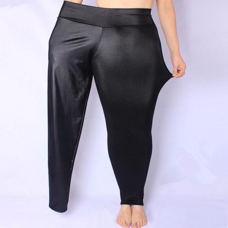 FSDKFAA Women Leggings Black High Waist Faux Leather Leggings High Elastic Stretch Material Skinny Pants  Plus Size XL-XXXXXL