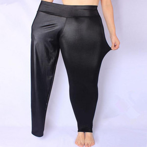 Image 1 - FSDKFAA Women Leggings Black High Waist Faux Leather Leggings High Elastic Stretch Material Skinny Pants  Plus Size XL XXXXXL