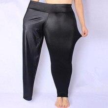 FSDKFAA kobiety legginsy czarny wysokiej talii Faux skórzane legginsy wysoki elastyczny materiał Stretch spodnie obcisłe Plus rozmiar XL XXXXXL