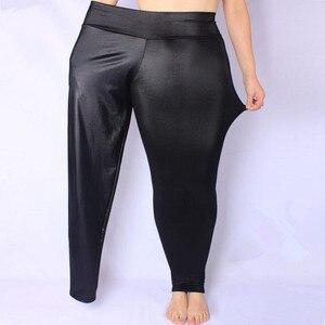 Image 1 - FSDKFAA נשים חותלות שחור גבוה מותן דמוי עור חותלות גבוהה אלסטי למתוח חומר סקיני מכנסיים בתוספת גודל XL XXXXXL