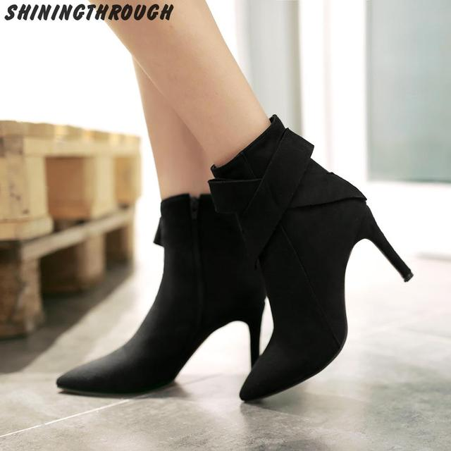 New fashion women sexy thin high heel ankle boots elegant poined ...
