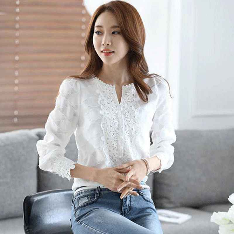 New White Long Sleeve Embroidery Shirt Casual Basic Women Lace Chiffon Solid Tops Autumn Spring