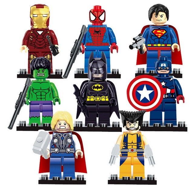 Avengers super hero Figures blocks Batman Logan Thor superman Hulk Building Blocks Sets Kids toy Bricks