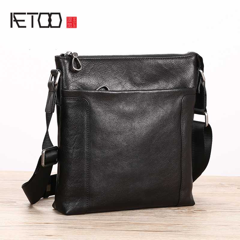 AETOO Leather male packets shoulder bag leisure oblique span bag vertical head cowhide trend Men s