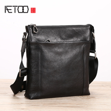 AETOO Leather male packets shoulder bag leisure oblique span vertical head cowhide trend Mens Bag