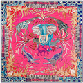 New Super LargeTwill Silk Women Scarf 130*130 EURO Kapok Spring Zoo Print Square Scarves Good Quality Gift Fashion Silk Shawls