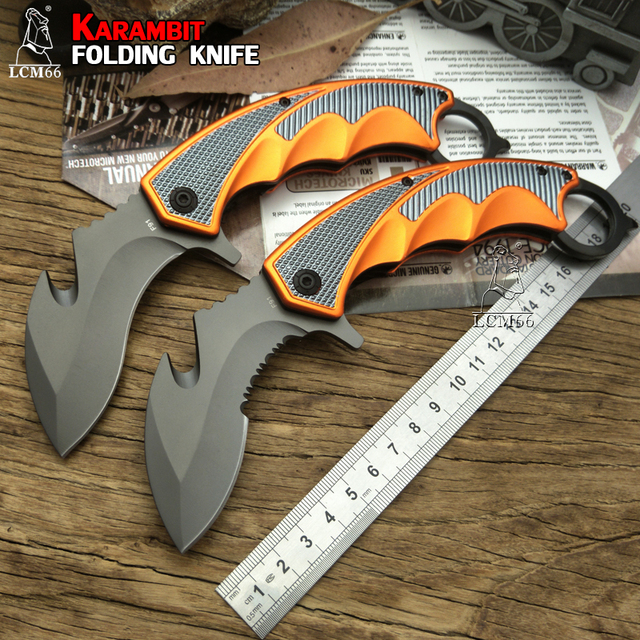 Couteau de poche tactique pliant LCM66 Karambit, couteau à griffes de renard, outil cadeau csgo, pour camping, plein air, pour la survie dans la jungle, auto défense
