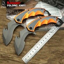 Lcm66 karambit faca dobrável, faca de raposa com garra csgo presente selva para acampamento ao ar livre, batalha autodefesa