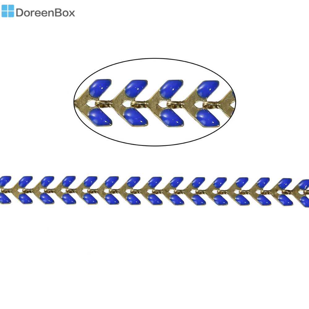 Doreen Box Copper Spiky Chains Findings Gold color Royal Blue Enamel 7x6mm( 2/8