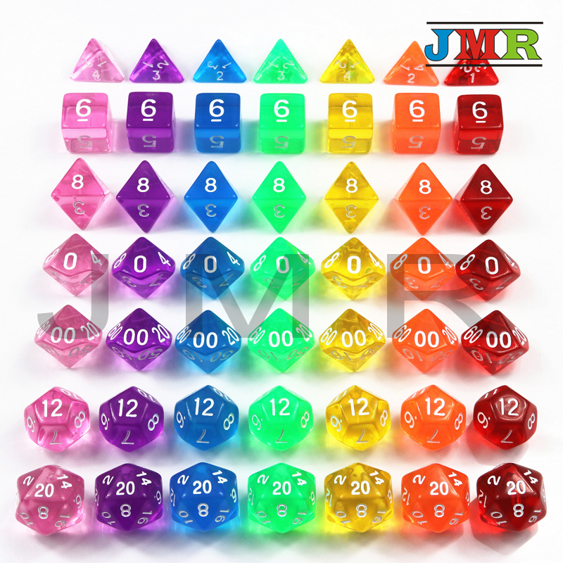 High Quality 7pcs/set Transparent Digital Polyhedral Rich Color Dice,Set of D4 D6 D8 D10%D12 D20 for Dnd Rpg Board Game dice
