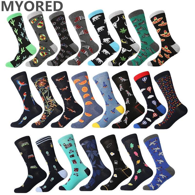 MYORED 1 pair drop shipping men socks cotton funny long socks creative cartoon a