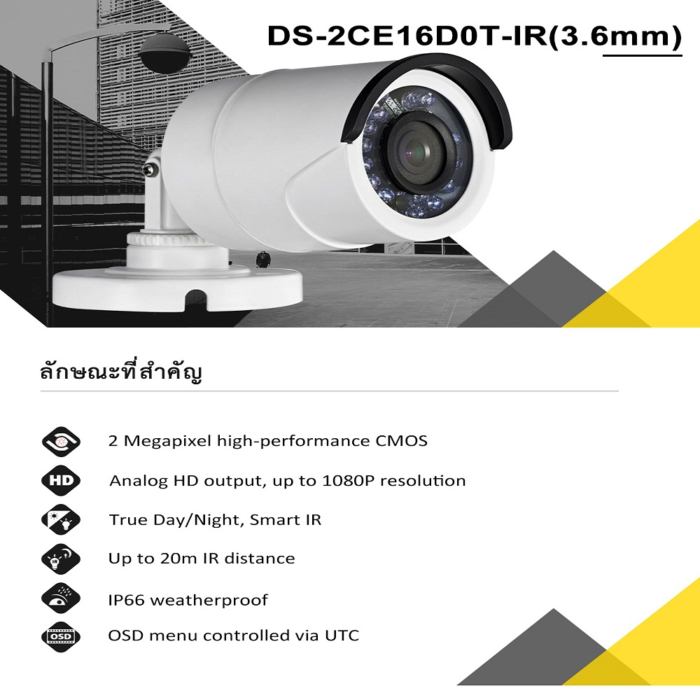 HIK DS 2CE16D0T IR 3 6mm DS 2CE16D0T IRF 6mm oversea version TVI bullet camera font