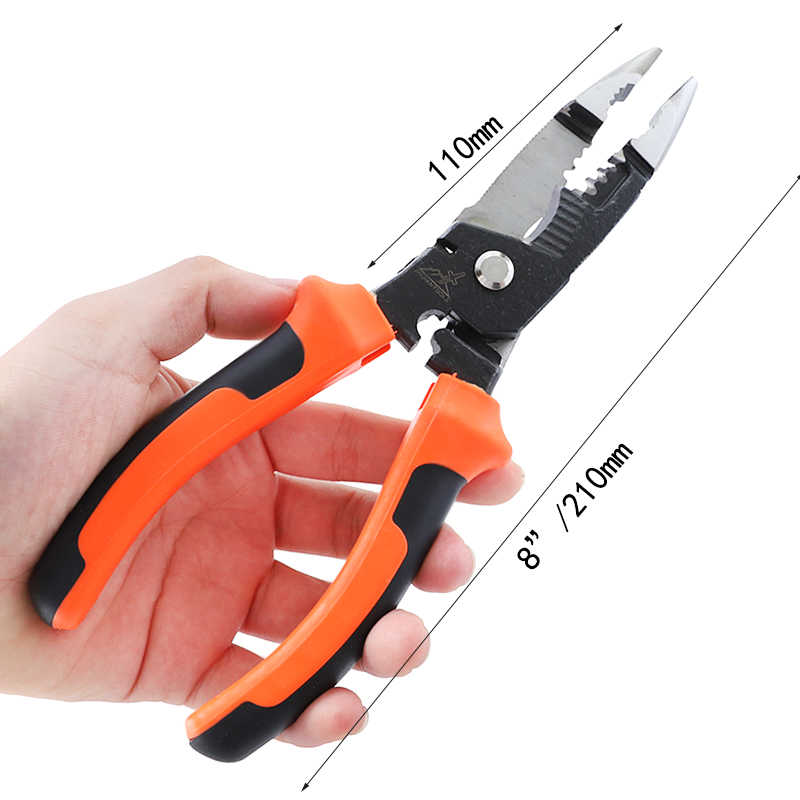"""RUITOOL 5 In 1 Wire Stripper Tang 8 """"/210mm Kabel Krimpen Cutter Tang CR-V Elektricien Snijden Hand gereedschap"""