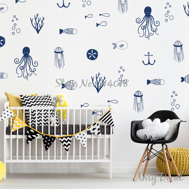 50 Pcs Sea Life Wall Decals Cute Nautical Decals Ocean Wall Sticker For Kids  Room Baby Bedroom Wall Stickers Home Decor A809