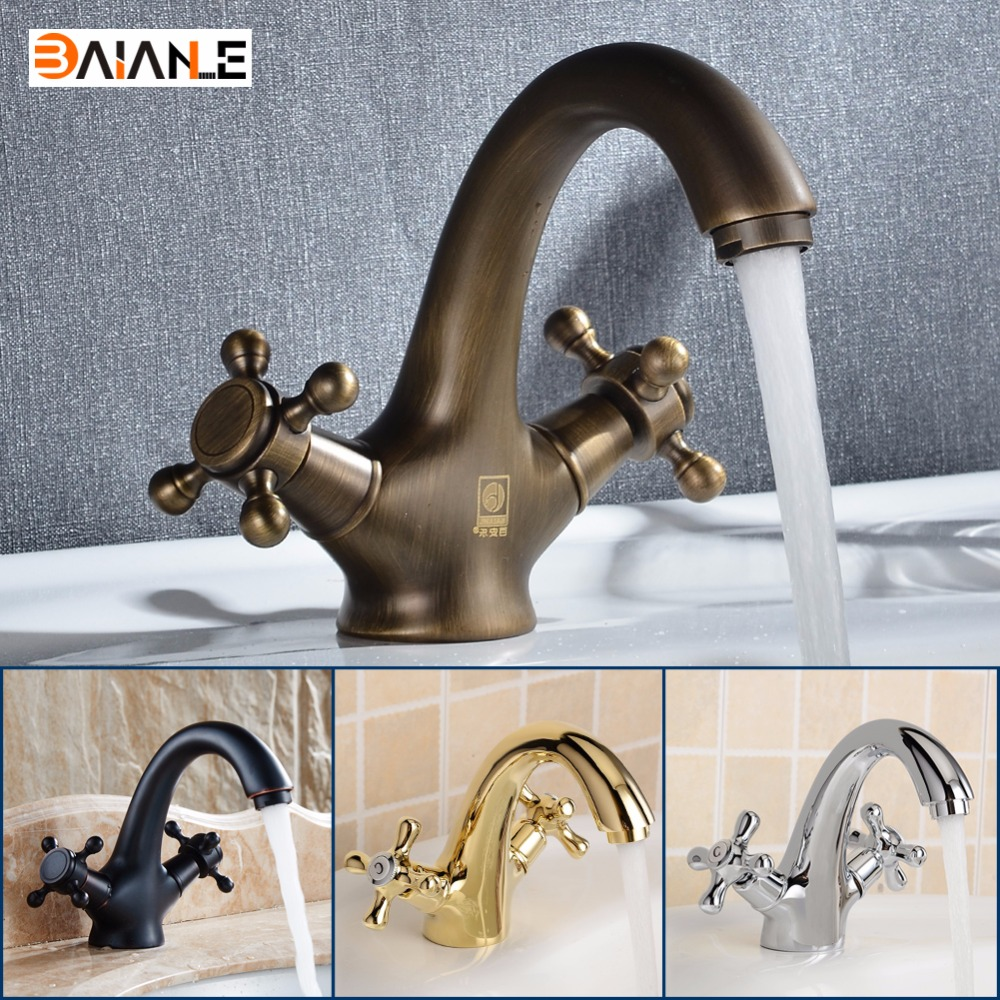 Basin Faucet Gold/Antique/Black Brass Double Handles Bathroom taps Hot And Cold Water Sink Faucet Bath Accessories Tap Mixer