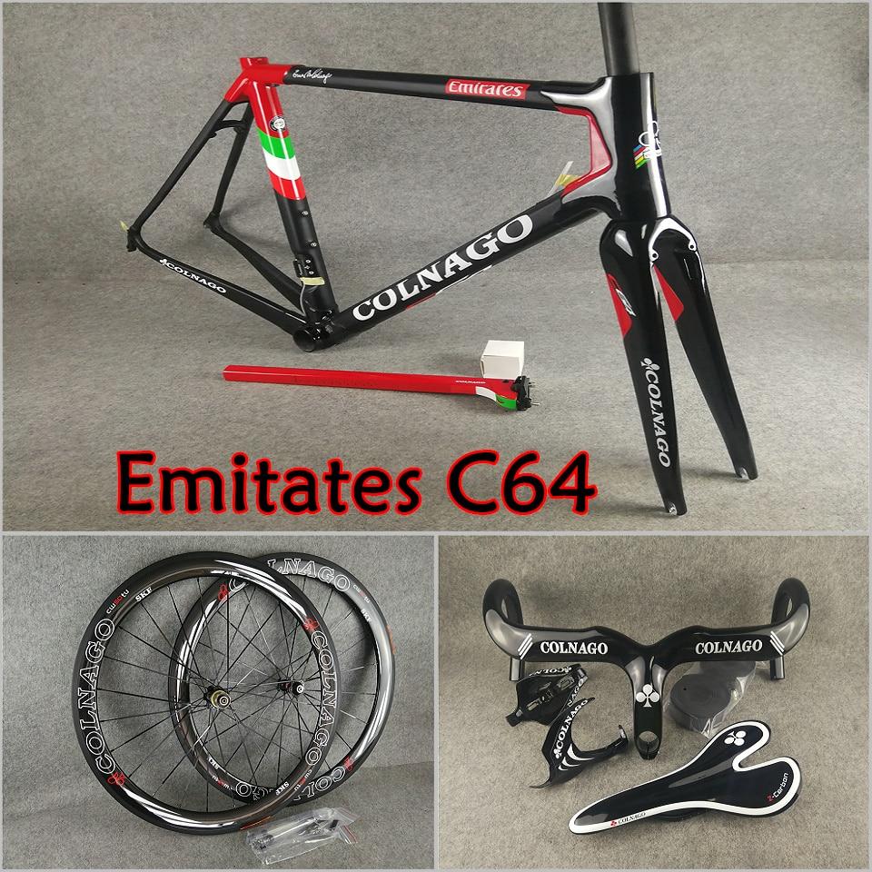 T1100 UD Team Emirates Colnago C64 carbon road frame+Handlebar+Saddle+Bottle cages+50mm carbon wheelset Novatec A271 hubs