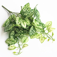 4pieces/set 9 Forks Artificial Green Radish Leaves Simulation Green Leaf Fake Flowers Vine Home Garden Wall Party Decoration