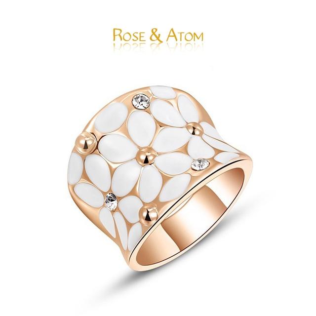 Hot Item Rose Gold Big Rings For Women Crystal White Flower Bride Wedding Jewelry cz Diamond