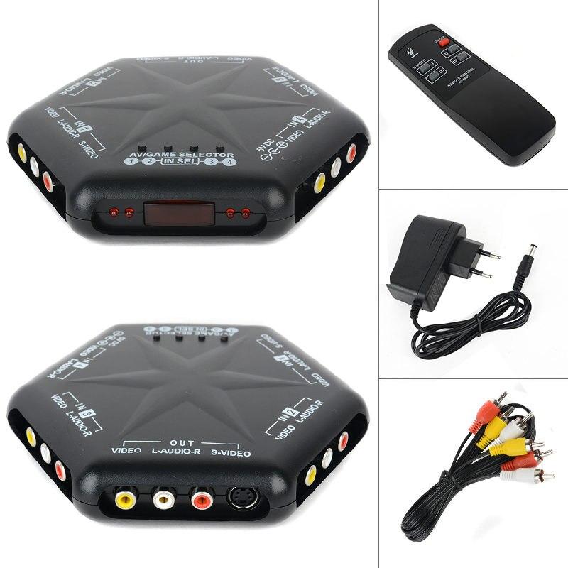 Mayitr novo 4 em 1 para fora s-jogo de áudio e vídeo rca av switch box seletor divisor + controle remoto