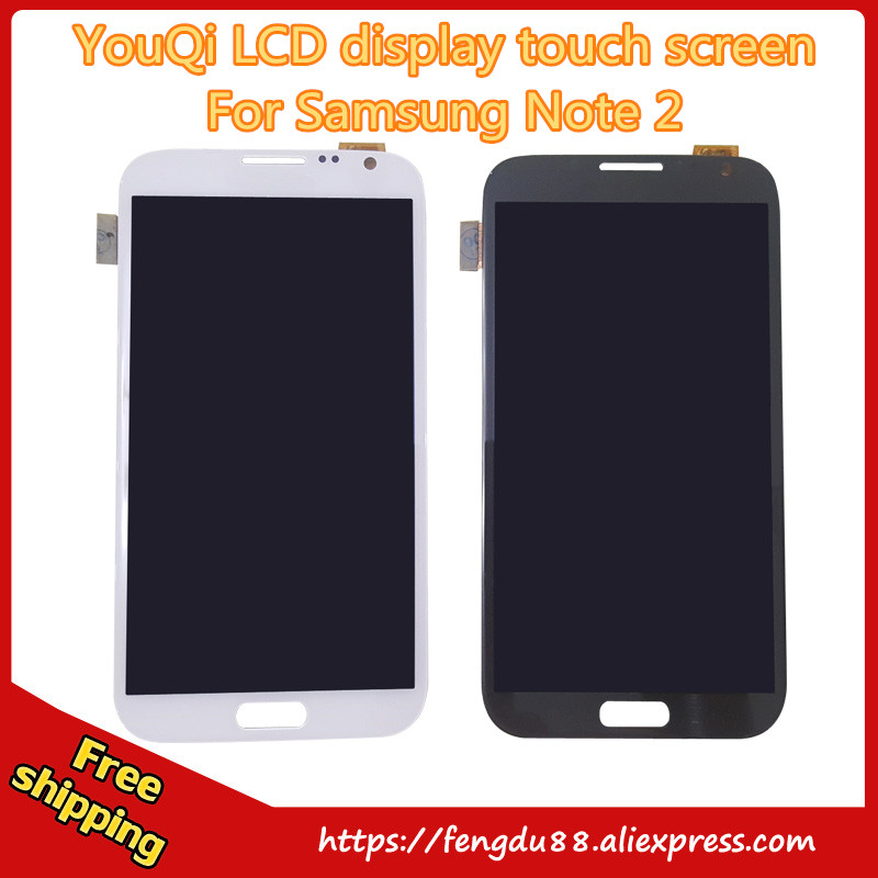 YouQi LCD Display Digitizer Touch Screen assembly For Samsung Galaxy note2 n7100 N7102 5.5 inch Gray White Free Shipping for DHL brand new3 n7100 lcd free shipping 10pcs n7100 lcd touch sceen digitizer assembly for samsung galaxy note 2 lcd