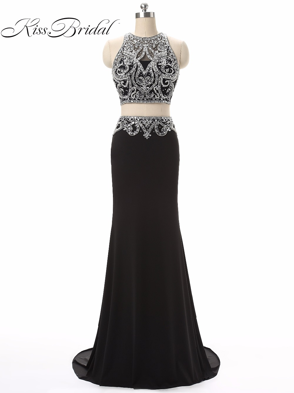 Sexy Two Pieces Party Prom Dresses Vestido de Festa O-Neck Sleeveless Beaded Illusion Formal Evening Gowns With Zipper Back