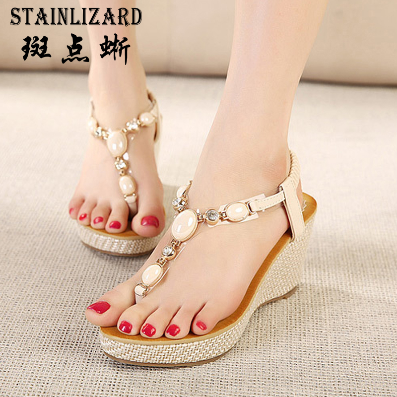 Thick Platform Flip-Flops Summer Beach Sandals Bohemia Wedge Gladiator Casual Sexy 2017 Fashion Girls Shoes women Sandals ABT533 phyanic 2017 gladiator sandals gold silver shoes woman summer platform wedges glitters creepers casual women shoes phy3323