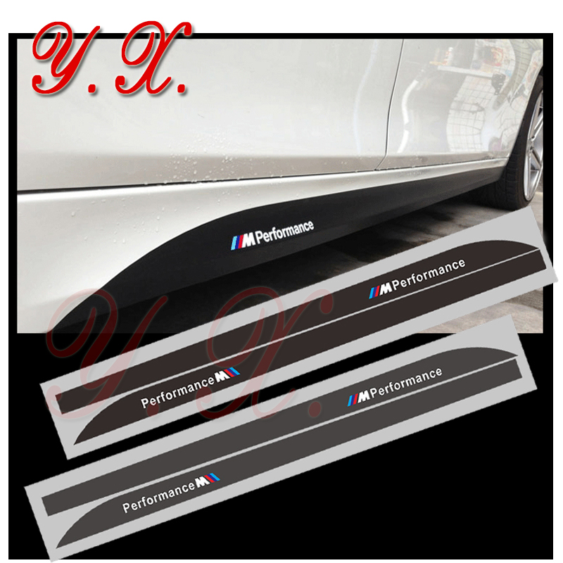 Car styling Reflective Sticker For BMW M Performance Logo Emblem For BMW X5 E53 E70 F15 Side Skirt Sticker and Decal Accessories 3d lsx logo abs car body side rear emblem decal sticker for chevrolet camaro corvette silverado etc