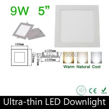 10 pcs/lot  2015 New Arrive 9W Led panel square ceiling down light 2835SMD lamp 85~265V for kitchen bathroom lighting Via DHL