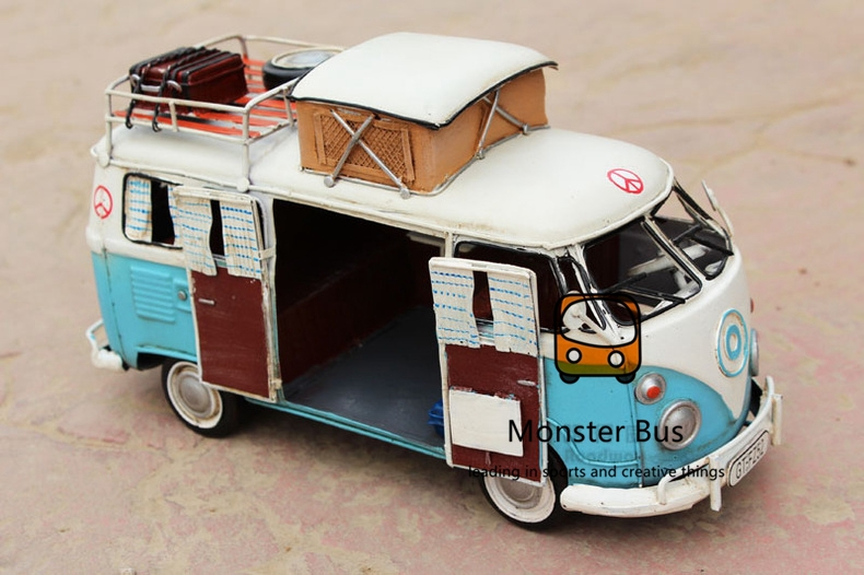 1966 Cute Retro Classic Bus 100 Handmade Iron Sheet Model Motorhome Trailer 1 12 Metal Model