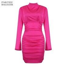 Новое поступление года, стильное ярко-розовое платье с длинными рукавами и драпировкой, с высоким воротом, для вечеринки, клуба, мини-платье, атласное платье