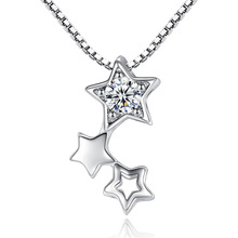 100% 925 sterling silver fashion little star shiny crystal ladies`pendant necklaces jewelry short box chains no fade cheap gift цена