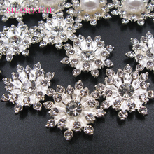 10Pcs Rhinestone Handmade Diamond Pearl Flower Pearls for Craft Alloy Mobile Phone Case Sticking Diy Jewelry Accessories cheap Beads Plating Metal SilkSouth