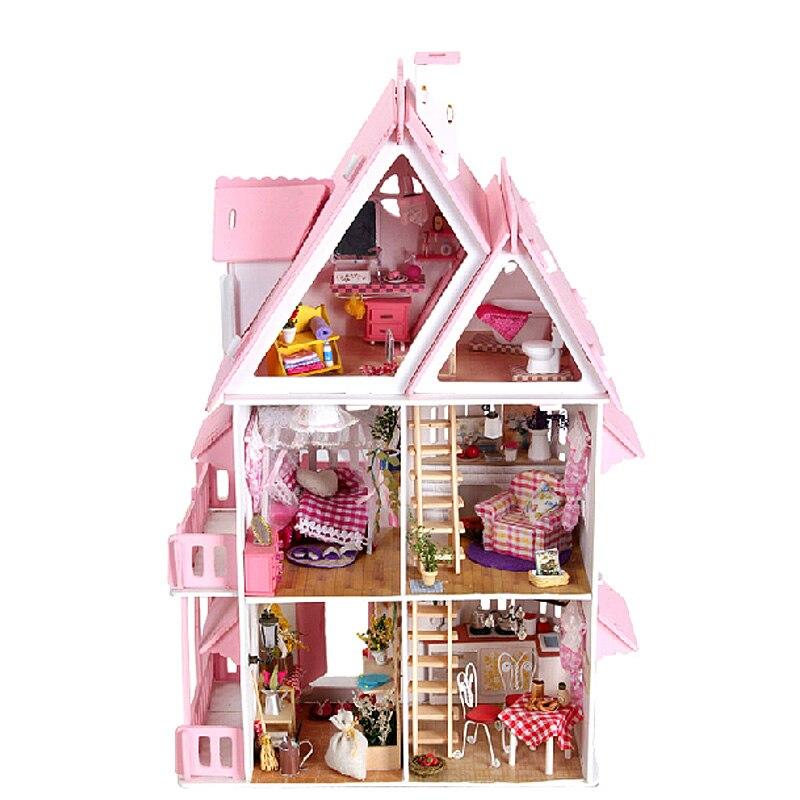 Mylb nouveau bricolage maisons de poupée grande taille trois couches maison de poupée grande Miniature maison de poupée Kit de meubles cadeau d'anniversaire jouets pour enfants