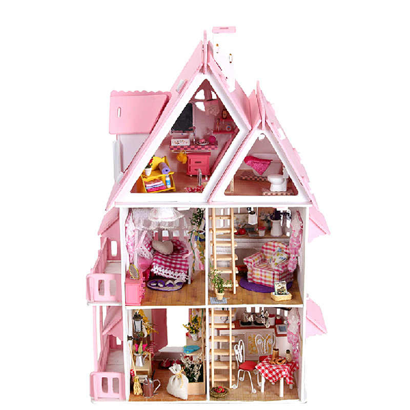 mylb New DIY Doll Houses Big Size Three Layer Doll House Large Miniature Dollhouse Furniture Kit Birthday Gift Toys for children
