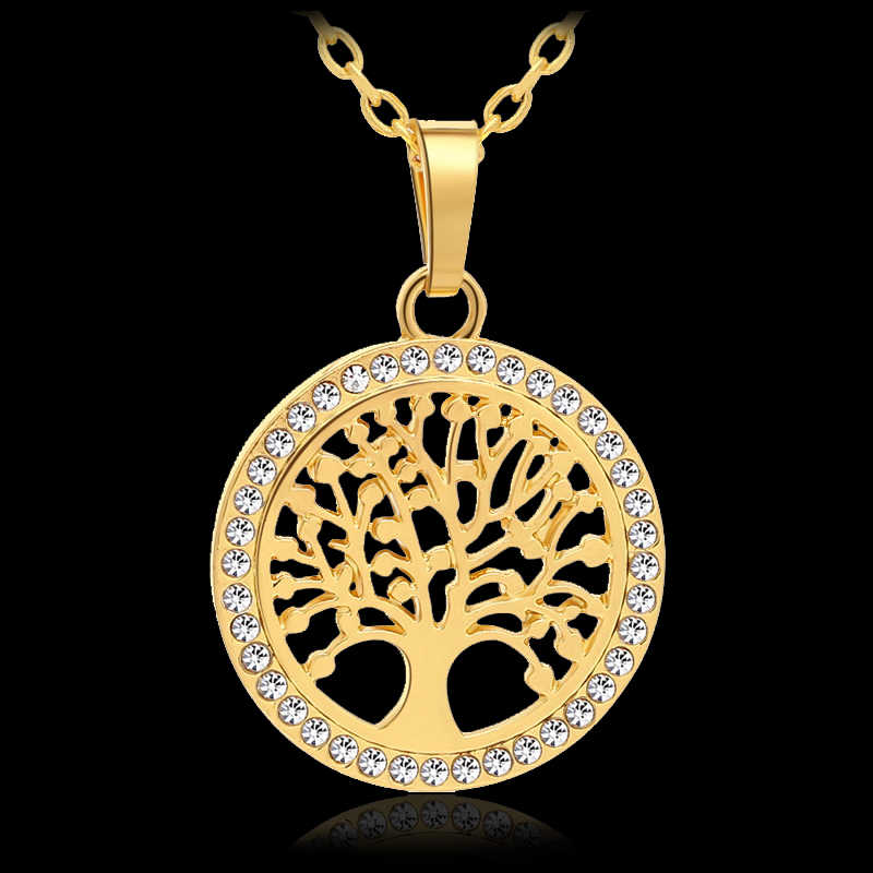 New Trendy Small Tree Of Life Round Pendant Necklace for Women Gold/Silver color Lucky Jewelry accessories Gift